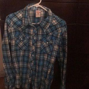 True Religion Turquoise Plaid Western Shirt